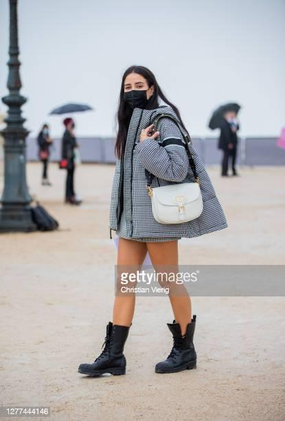 Tamara Kalinic seen wearing Dior jacket outside Dior during Paris Fashion Week - Womenswear Spring Summer 2021 : Day Two on September 29, 2020 in...
