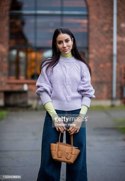 Tamara Kalinic seen wearing turtleneck, pink knit, denim jeans outside Baum und Pferdgarten during Copenhagen Fashion Week Autumn/Winter 2020 Day 3...