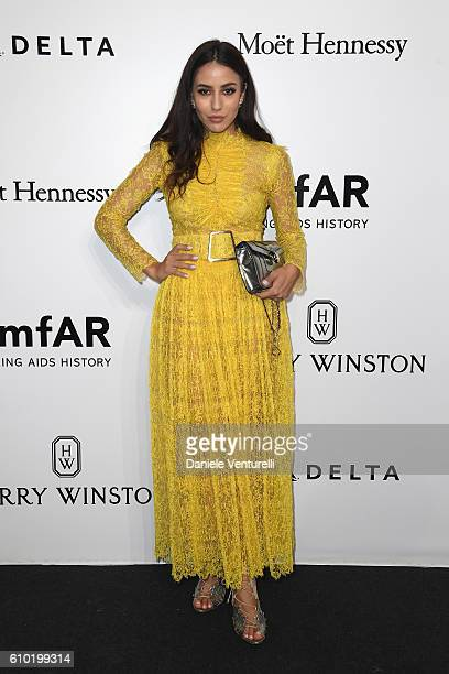 Tamara Kalinic walks the red carpet of amfAR Milano 2016 at La Permanente on September 24 2016 in Milan Italy