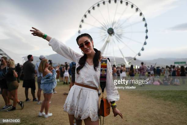 Tamara Kalinic wearing a dior bag during day 3 of the 2018 Coachella Valley Music Arts Festival Weekend 1 on April 15 2018 in Indio California