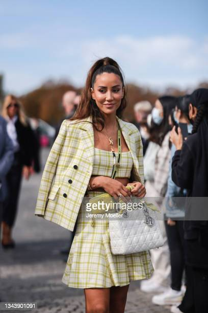 Tamara Kalinic wearing a full dior look outside Dior on September 28, 2021 in Paris, France.