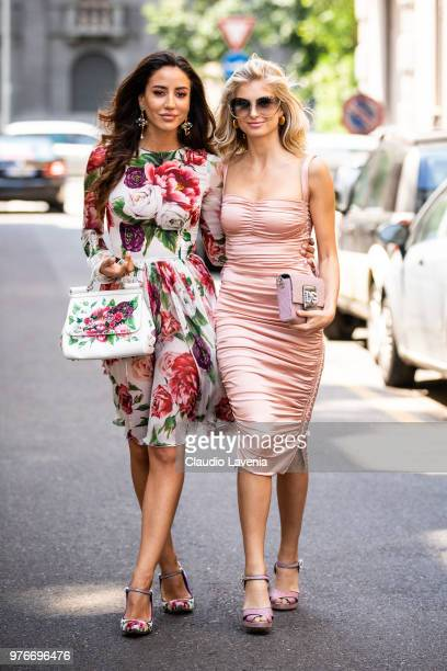 Tamara Kalinic wearing Dolce Gabbana dress bag and shoes and Xenia Adonts Overdose wearing Dolce Gabbana pink dress and bag are seen in the streets...