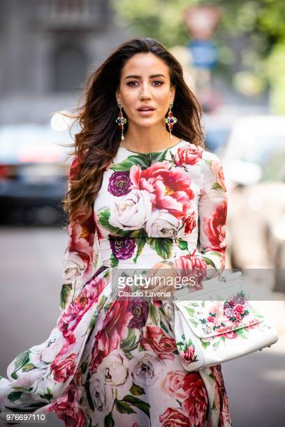 Tamara Kalinic wearing Dolce Gabbana dress bag and shoes is seen in the streets of Milan before the Dolce Gabbana show during Milan Men's Fashion...