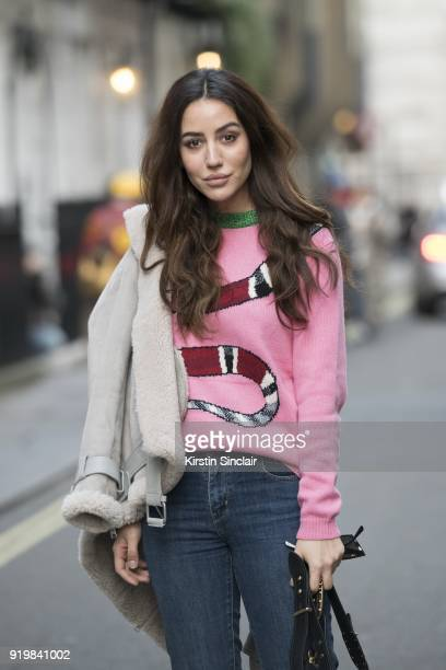 Tamara Kalinic wears a Gucci sweater Levi's jeans on day one of London Womens Fashion Week Autumn/Winter 2018 on February 16 2018 in London England...