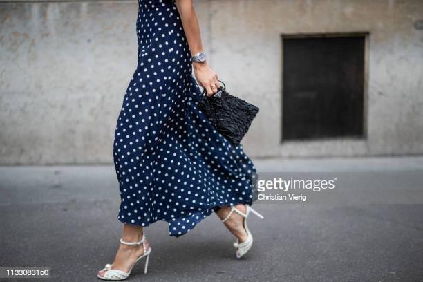 Tamara Kallinic is seen wearing dress with dots print during Paris Fashion Week Womenswear Fall/Winter 2019/2020 on March 01 2019 in Paris France