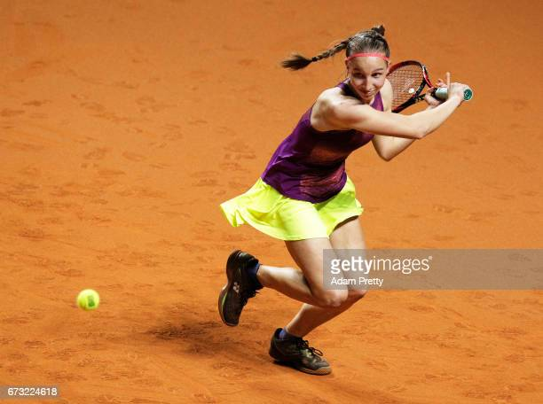 Tamara Korpatsch of Germany in action during her match against Carlo Suarez Navarro of Spain during the Porsche Tennis Grand Prix at Porsche Arena on...