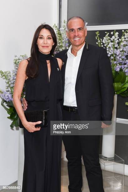 Tamara Mellon and Mark Lash attend VIP Conversation for Women's Brain Health Initiative Hosted by Sharon Stone at Gagosian Gallery on October 18 2017...