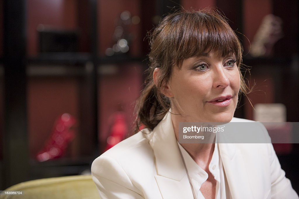 Tamara Mellon, president of TM Enterprises, speaks during a Bloomberg Television interview in London, U.K., on Monday, Oct. 7, 2013. This autumn, Mellon, is launching her own line of clothes and shoes. Photographer: Jason Alden/Bloomberg via Getty Images