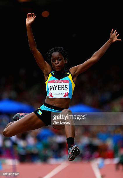 Tamara Myers pf Bahamas competes in the Women's Long Jump qualification at Hampden Park during day seven of the Glasgow 2014 Commonwealth Games on...