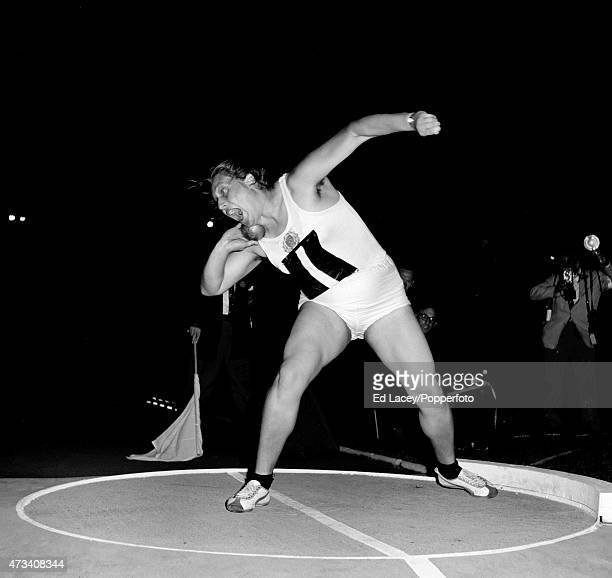 Tamara Press of Russia competing in a shot put event on 20th September 1961