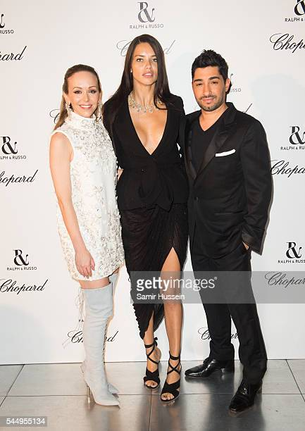 Tamara Ralph Adriana Lima and Michael Russo attend the Ralph Russo And Chopard Host Dinner as part of Paris Fashion Week on July 4 2016 in Paris...