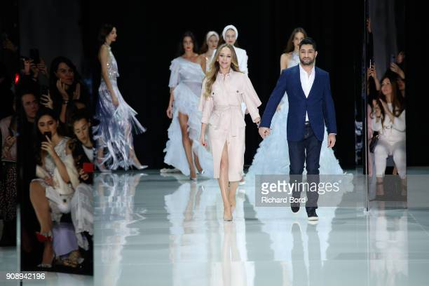 Tamara Ralph and Michael Russowalk the runway during the Ralph Russo Spring Summer 2018 show as part of Paris Fashion Week on January 22 2018 in...