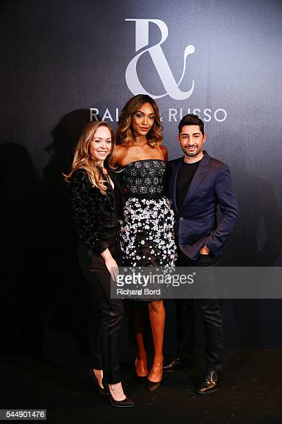 Tamara Ralph Jourdan Dunn and Michael Russo pose Backstage after the Ralph Russo Haute Couture Fall/Winter 20162017 show as part of Paris Fashion...