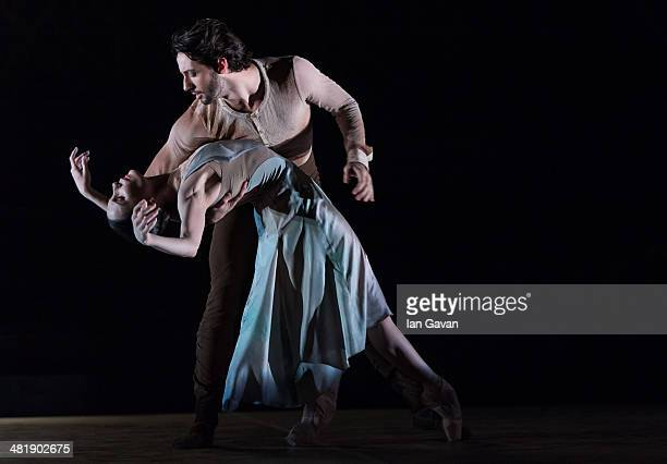 Tamara Rojo and Esteban Berlanga perform on stage during a dress rehearsal of the English National Ballet's Lest We Forget at the Barbican Centre on...