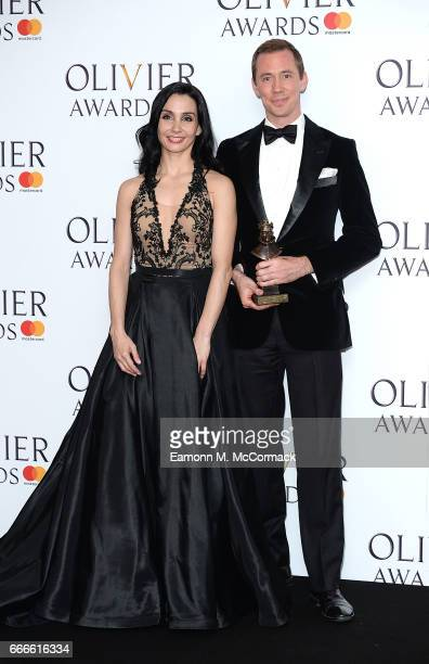 Tamara Rojo and Patrick Harrison accept the award for Outstanding Achievement in Dance for the English National Ballet in the winners room at The...
