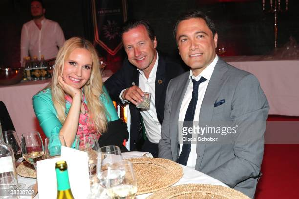 Tamara Sedmak and her former husband Norbert Dobeleit and her partner Nader NaeymiRad during the FCR EAGLES Masters Toscana golf tournament Dinner of...