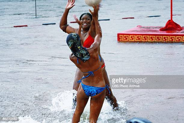 Tamara 'Taj' JohnsonGeorge and Candace Smith of the Jalapao tribe during the reward and immunity challenge quotBeach Brawlquot during the second...