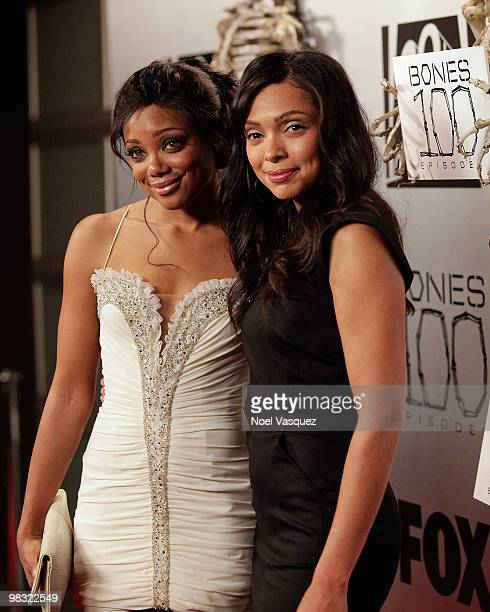 Tamara Taylor and Tiffany Hines attend the 'Bones' 100th episode celebration at 650 North on April 7 2010 in West Hollywood California