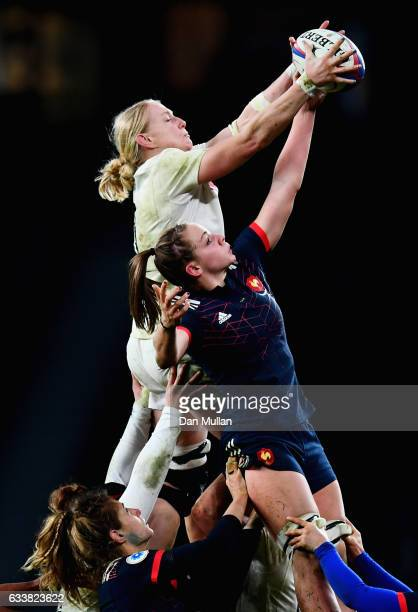 Tamara Taylor of England and Romane Menager of France battle to win the line out during the Women's Six Nations match between England and France at...