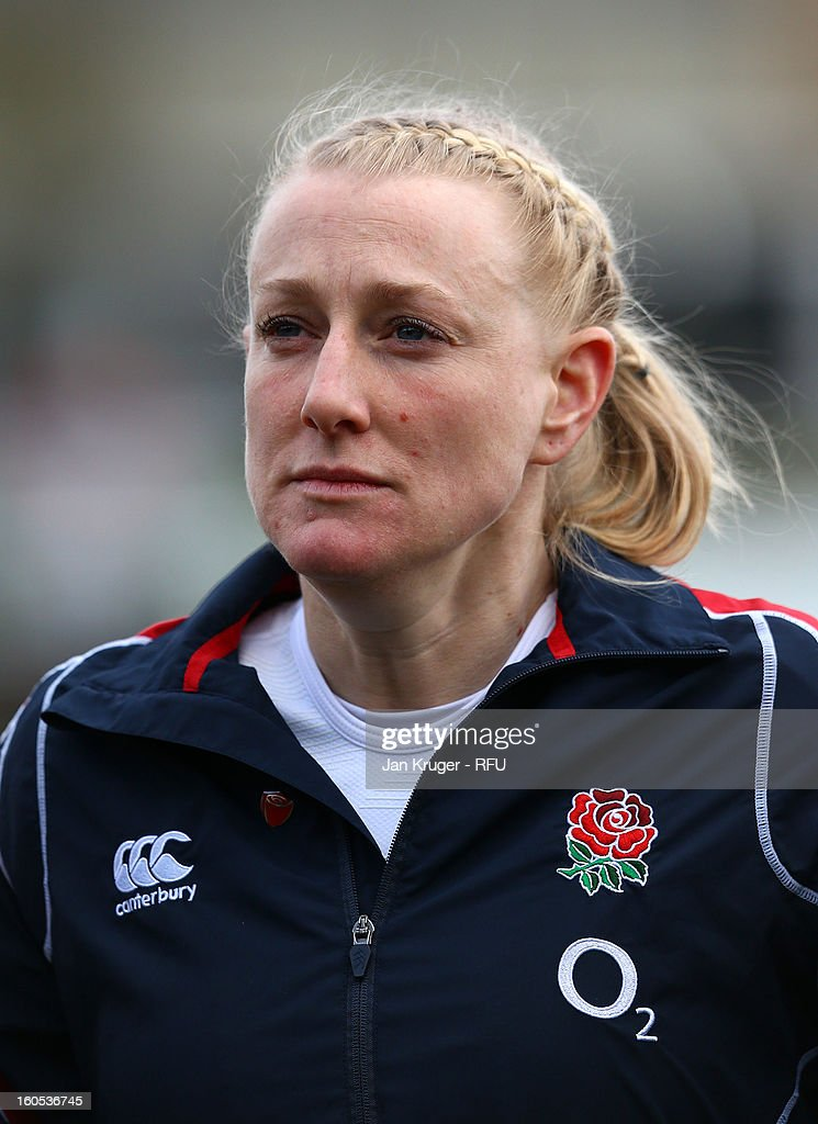 Tamara Taylor of England Women lines up for the anthem during the Womens Six Nations match between England and Scotland at Esher RFC on February 2, 2013 in Esher, England.
