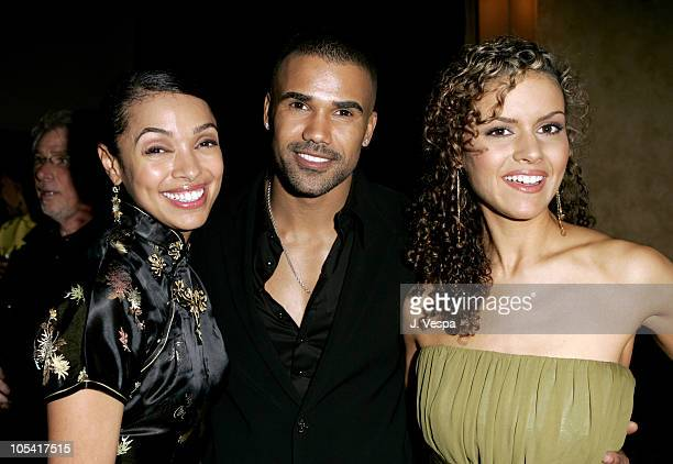 "Tamara Taylor, Shemar Moore and Lisa Marcos during Tyler Perry's ""Diary of a Mad Black Woman"" Los Angeles Premiere - After Party at The Sunset Room..."