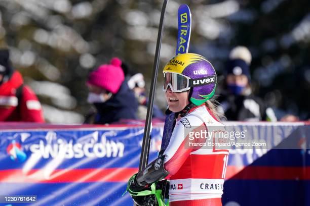 Tamara Tippler of Austria celebrates during the Audi FIS Alpine Ski World Cup Women's Super G on January 24, 2021 in Crans Montana Switzerland.