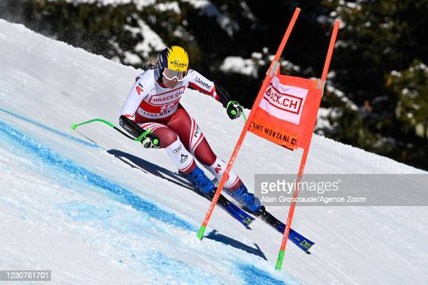 Tamara Tippler of Austria in action during the Audi FIS Alpine Ski World Cup Women's Super G on January 24, 2021 in Crans Montana Switzerland.