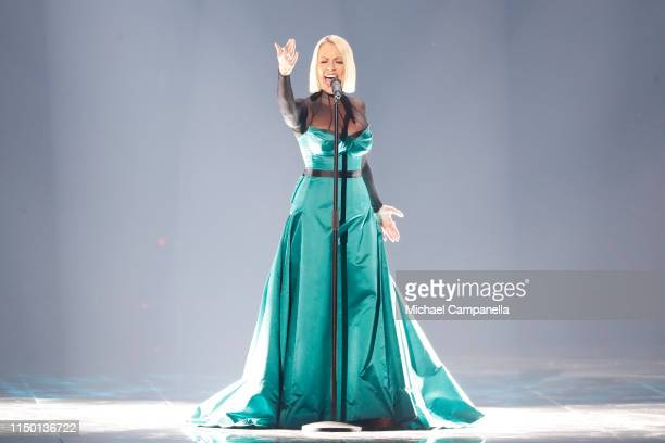 Tamara Todevska representing North Macedonia performs live on stage during the 64th annual Eurovision Song Contest held at Tel Aviv Fairgrounds on...