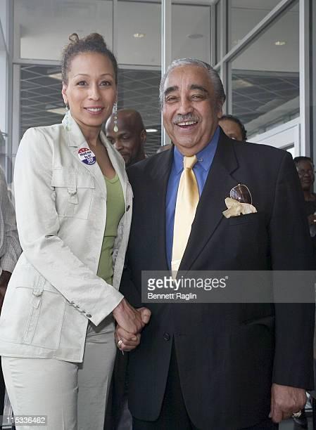 Tamara Tunie and Congressman Charles B. Rangel during Harlem Dowling West Side Center Pre-Gala VIP Breakfast Honoring Congressman Charles Rangel at...