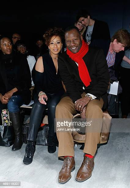 Tamara Tunie and her husband Gregory Generet attend the B Michael America Show during MercedesBenz Fashion Week Fall 2014 at The Pavilion at Lincoln...