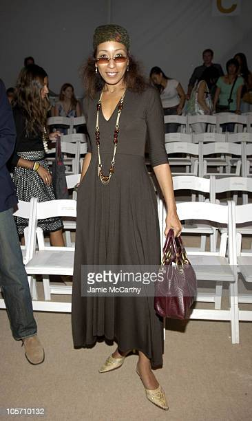 Tamara Tunie during Olympus Fashion Week Spring 2006 - Naeem Khan - Front Row and Backstage at Bryant Park in New York City, New York, United States.