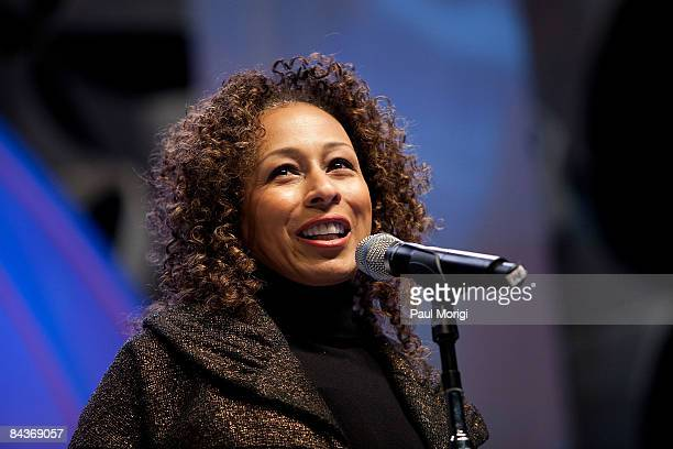Tamara Tunie talks speaks at the Students Inaugural Program at the Cole Field House at the University of Maryland on January 19 2009 in College Park...