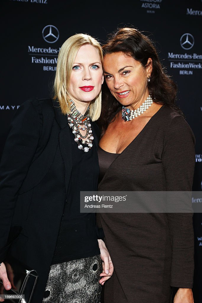 Tamara von Nayhauss and Anna von Griesheim attend Miranda Konstantinidou Autumn/Winter 2013/14 fashion show during Mercedes-Benz Fashion Week Berlin at Brandenburg Gate on January 18, 2013 in Berlin, Germany.