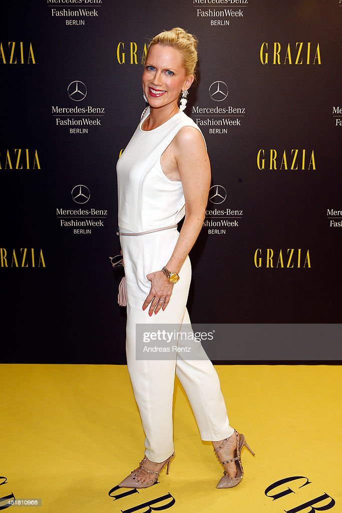 Tamara von Nayhauss arrives for the Opening Night by Grazia fashion show during the Mercedes-Benz Fashion Week Spring/Summer 2015 at Erika Hess Eisstadion on July 7, 2014 in Berlin, Germany.