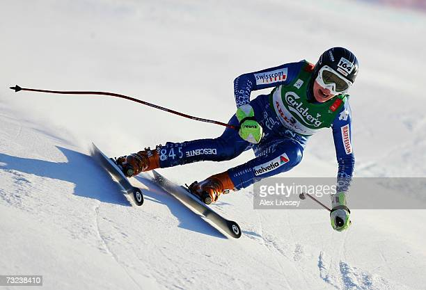 Tamara Wolf of Switzerland in action during the Ladies Downhill training session on day five of the FIS World Ski Championships on February 7 2007 in...