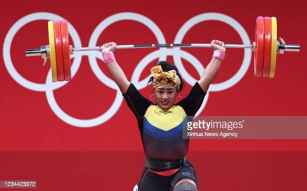 Tamara Yajaira Salazar Arce of Ecuador competes during the weightlifting women's 87kg event at Tokyo 2020 Olympic Games in Tokyo, Japan, on Aug. 2,...