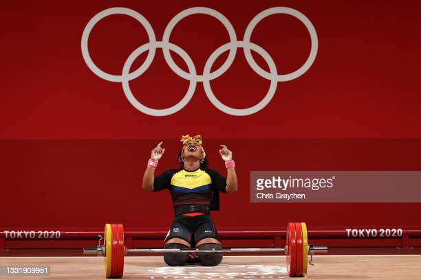 Tamara Yajaira Salazar Arce of Team Ecuador competes during the Weightlifting - Women's 87kg Group A on day ten of the Tokyo 2020 Olympic Games at...