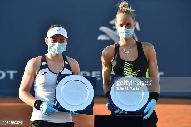 Tamara Zidansek of Slovenia and Arantxa Rus of Nederlands, winners of the women's doubles final match, attend the award ceremony of the 31st Palermo...