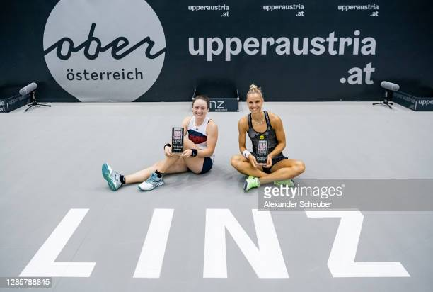 Tamara Zidansek of Slovenia and Arantxa Rus of the Netherlands celebrate the victory during the finals of the Upper Austria Ladies Linz at TipsArena...