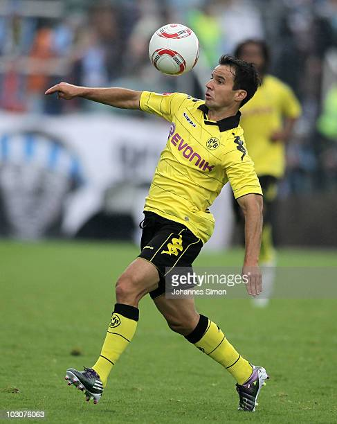 Tamas Hajnal of Dortmund controls the ball during the preseason friendly match 1860 Muenchen v Borussia Dortmund at Gruenwalder Stadion on July 24...