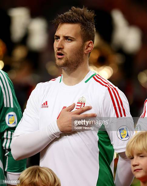 Tamas Kadar of Hungary during the FIFA 2014 World Cup Qualifing match between Holland and Hungary at Amsterdam Arena on October 11 2013 in Amsterdam...