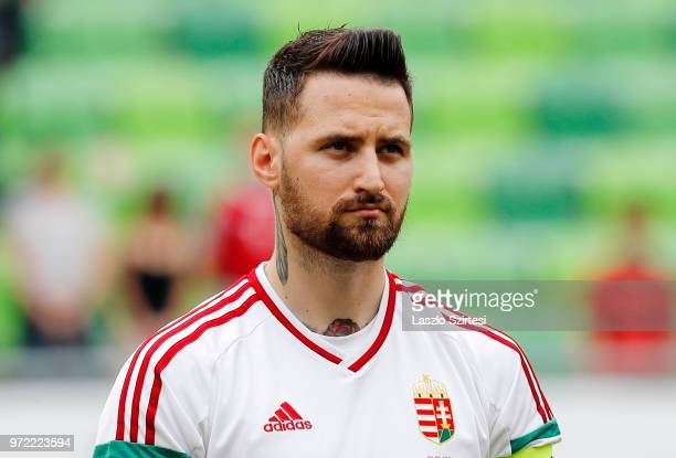 Tamas Kadar of Hungary listens to the anthem prior to the International Friendly match between Hungary and Australia at Groupama Arena on June 9 2018...
