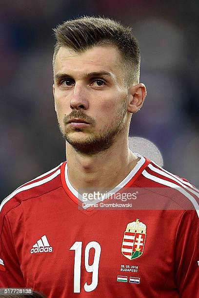 Tamas Priskin of Hungary in action during the International Friendly match between Hungary and Croatia at Groupama Arena on March 26 2016 in Budapest...