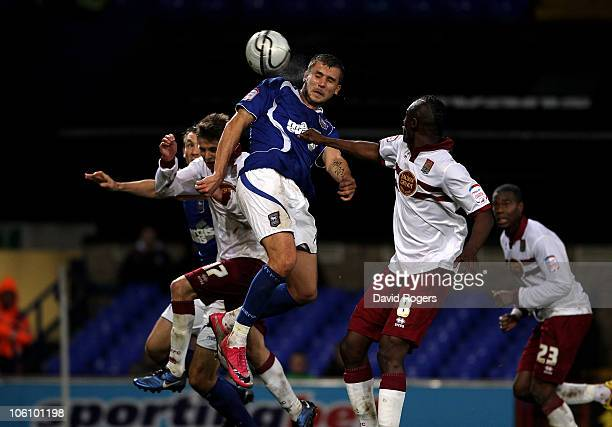 Tamas Priskin of Ipswich Town beats the Northampton defence to the ball to score their third goal during the Carling Cup fourth round match between...