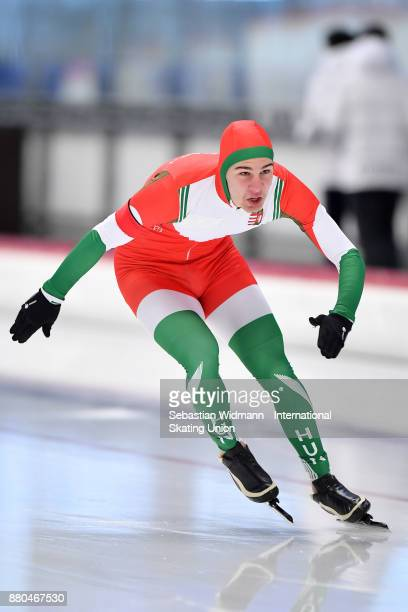 Tamas Szoegi of Hungary performs during the Men 500 Meter at the ISU Junior World Cup Speed Skating at Max Aicher Arena on November 26 2017 in Inzell...