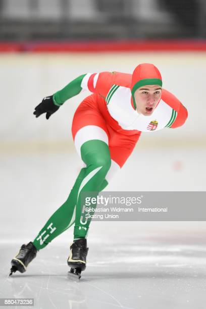 Tamas Szogi of Hungary performs during the Men 1500 Meter at the ISU ISU Junior World Cup Speed Skating at Max Aicher Arena on November 26 2017 in...