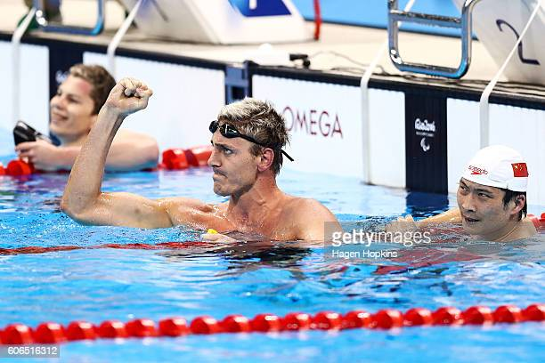 Tamas Toth of Hungary celebrates after winning the Men's 100m Backstroke S9 final on day 9 of the Rio 2016 Paralympic Games at Olympic Aquatics...