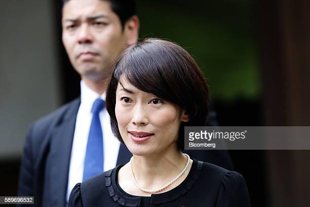 Tamayo Marukawa Japan's Olympic minister visits the Yasukuni Shrine on the anniversary of Japan's World War II surrender in Tokyo Japan on Monday Aug...