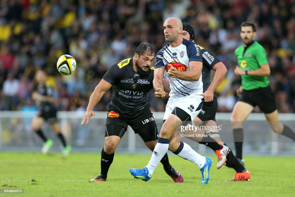 Tamaz Mchedlidze of Agen during the pre-season match between Stade Rochelais and SU Agen on August 17, 2017 in La Rochelle, France.