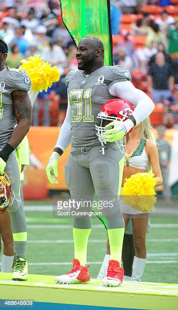 Tamba Hali of the Kansas City Chiefs and Team Sanders is introduced before the 2014 Pro Bowl at Aloha Stadium on January 26 2014 in Honolulu Hawaii